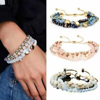 Fashion Women Natural Stone Crystal Beads Bracelet Colorful Bangle Jewelry Gift