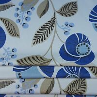 Cream Cotton Multi Leaf Blue Print Curtain Fabric
