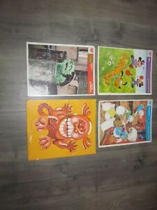 4 Vintage Whitman Frame Tray Children's Puzzles Disney, Sesame Street, Western
