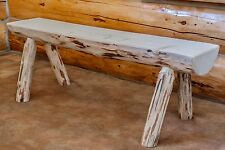 Half Log Bench 5' - Real Pine Benches - Amish Made - Unfinished Assembled