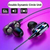 HIFI Super Bass Headset Dual Driver Earphone Headphone Earbuds 3.5mm Jack w/ Mic