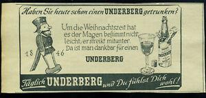 Underberg -- Um die Weihnachtszeit hat es der Magen  -- Werbung von 1953-