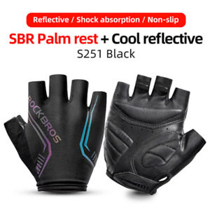 Unisex Non-slip MTB Bike Gloves Cycling Half Finger Gloves Colorful Reflective