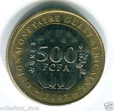 WEST AFRICAN STATES (WAS): RARE 500 Francs FCFA 2003 BI-METAL UNC bimettalic