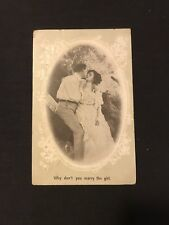 Antique Embossed Romantic Postcard Valentine Marry The Girl Kissing
