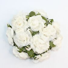Vintage 1950's Flower Petal White Roses Pill Hat w/Combs Union Made Pin Up Party