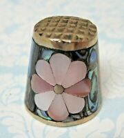 Older Thimble Mexican Silver w Abalone & Shell Flower Design SHP