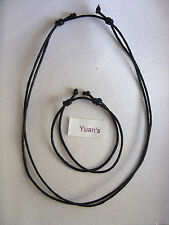 A REAL BLACK LEATHER CORD MEN'S TRIBEL SURFER, SURF, CHOKER, ROCK GOTHIC, GOTH