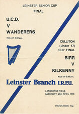 UCD v WANDERERS 1978 LEINSTER CUP FINAL RUGBY PROGRAMME