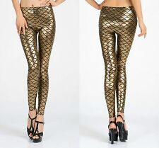 Ladies Hot de Oro Metálico escamas Sirena Leggings Pantalones De Lujo Talla 8-10