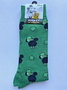 Mickey Mouse St. Patrick's Day Novelty Socks New Disney Green Black