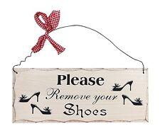 """Please Remove Your Shoes Wood Sign-Decorative Plaque 10""""L X 4""""H"""