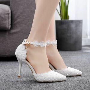 chic Schuhe für Braut Brautschuhe Hochzeit Pumps Party Tanz weiß Absatz 9 cm S07