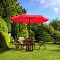 10Ft 8 Rib Outdoor Patio Umbrella Market Valance Crank Tilt Garden Backyard Red