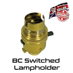 Brass Lamp Holder - Switched - Bayonet BC - Bulb Holder *UK Stock*