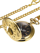 Vintage Pocket Watch Steel Men Watch with Chain Gold