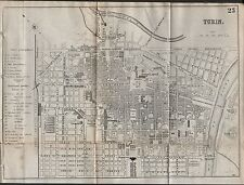 1890 Ca ANTIQUE TOWN PLAN - TURIN, ITALY