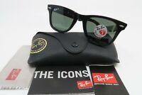 Ray-Ban RB 2140 901/58 WAYFARER Black Polarized Green Lens Sunglasses, New wCase