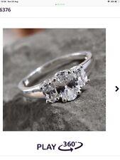 1.18 Ct Oval Trilogy Swarovski Silver Engagement Ring Size L