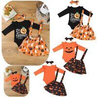 Newborn Baby Girls Romper Outfit Bodysuit + Skirt Cartoon Pumpkin Jumpsuit 3PCS