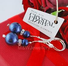 925 STERLING SILVER EARRINGS CRYSTALS FROM SWAROVSKI® PEARL NIGHT BLUE
