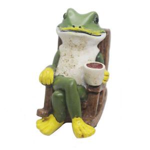 Coffee Frog Statue Sculpture Flower Garden Collectible Animal  Frog Figurine