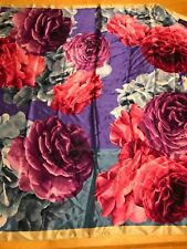 "NWT  Echo silk scarf 38 ""  Square  Multi Colr roses  K515"