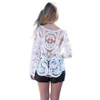 Vintage Loose Fit Floral Crochet Lace Long Sleeve Tunic Top RRP $34 Australia