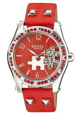 Rebel Women's RB111-4051 Gravesend Crystal Puzzel Piece Dial Red Leather Watch