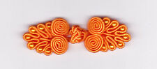 6 pairs orange Chinese frog buttons with beads - NEW - sewing.  Hand made