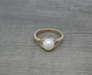 Schöne 1970's Vintage 9ct Gold 7mm Rund Kultiviert Perle Ring Größe M