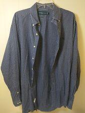 Polo Ralph Lauren Mens Button Shirt Size 16 34/35 Blue Long Sleeve Yarmouth Logo
