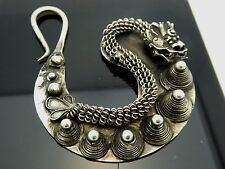 Vintage Style Silver Plated Hmong Miao Hill Tribe Handmade Large Dragon Earrings