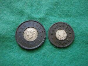 Victoria Toy / play Money Model Penny & Half Penny by Moore nice Grades [SE-38]