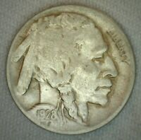 1928 D US Buffalo 5c Five Cent Coin Copper Nickel Very Fine