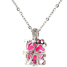 K642 I Love Cat Kitten Footprint Pearl Beads Cage Locket Necklace Diffuser Charm