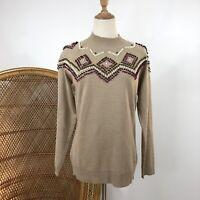 Damart Long Sleeve Pullover Knit Jumper Size XS 8/10 Brown Bobble Details
