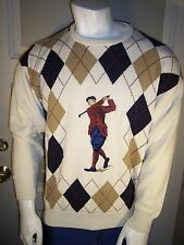 Pringle of Scotland Large Hand Intarsia LS Heavy Cotton Plaid Golf Sweater