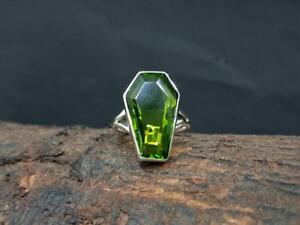 Peridot Coffin Ring 925 Sterling Silver Ring Handmade Ring Size 6 Heart++++26
