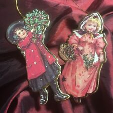 Die Cut Christmas Ornament Victorian Girls w Holly Gold Foil Vintage Style (2)