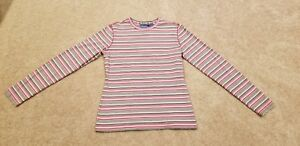 Quest Womens Red/Brown Striped Long Sleeve Performance Shirt, Size Medium