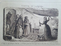 antique caricature engraving 'Looking for lodgings' signed on the plate