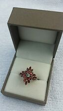 Rajasthan garnet and white topaz sterling silver ring