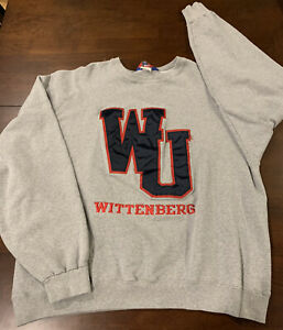 VINTAGE Champion Brand NCAA Wittenberg Tigers Embroidered Sweatshirt Size XL