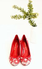 ANTONIO MELANI Retro Floral Pumps Kitten Heels Shoes Sz 6.5 Red/Cream Round Toe