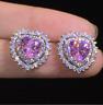 4Ct Heart Cut Pink Sapphire Push Back Halo Stud Earrings 14K White Gold Finish