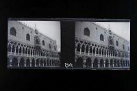 Venice Venezia Italia Placca Stereo Negativo 45x107mm Vintage