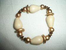 HAND PAINTED WOODED GOLD AND CREAM COLOR  STRETCH STATEMENT BRACELET BEADED