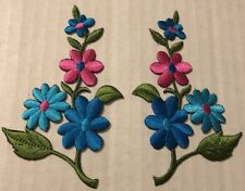 New listing Floral Patches Iron On Pink Blue Green Lot 2