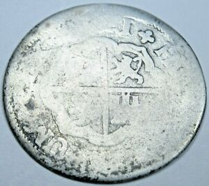 1721 Spanish Silver 1 Reales Antique 1700's Colonial Cross Pirate Treasure Coin